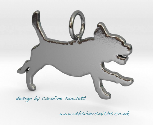 Puggle run new dog pendant sterling silver handmade by saw piercing Caroline Howlett Design